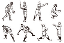Group Of Historical Baseball Players, After Vintage Illustrations From The 19th Century