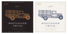 Bootlegger Pickup Truck Sketch Vintage Retro Logo Illustration