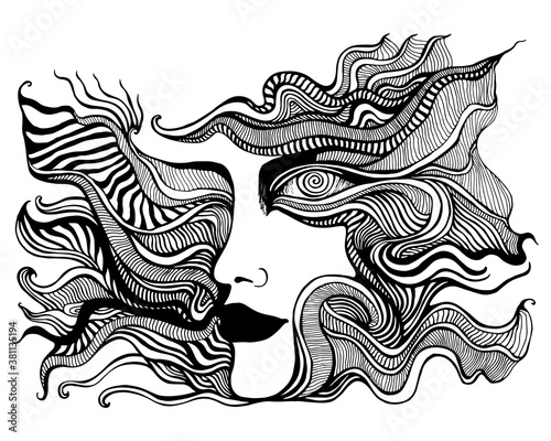 Black and white psychedelic face with spiral eye, of crazy patterns Coloring pag Canvas Print