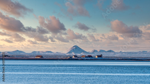 View from Reykjavik across the bay to Bessastadir, the official residence of the President of Iceland Canvas Print