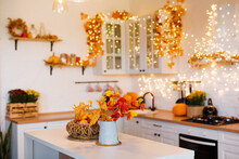 Autumn Kitchen Interior. Red A...