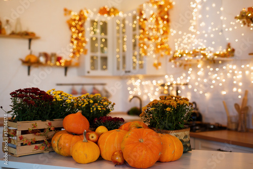Obraz Autumn kitchen interior. Red and yellow leaves and flowers in the vase and pumpkin on light background - fototapety do salonu