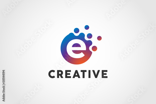 Initial Letter E Logo, Circle particle with letter E inside, vector illustration