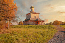 Wooden Orthodox Church In The Fall.