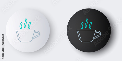 Valokuvatapetti Line Coffee cup icon isolated on grey background