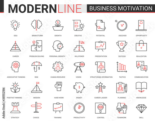 Business motivation thin red black line icon vector illustration set with motivational outline symbols for productivity of financial processes, teamwork business planning, communication training
