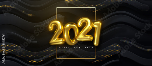 Fototapeta Happy New 2021 Year. Vector holiday illustration of golden numbers on black wavy strokes background textured with glittering particles obraz