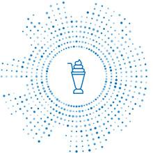 Blue Line Milkshake Icon Isola...