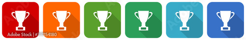 Fotografiet Cup icon set, flat design vector illustration in 6 colors options for webdesign