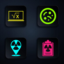 Set Radiation Warning Document, Square Root Of X Glyph, Radioactive In Location And Bacteria. Black Square Button. Vector.
