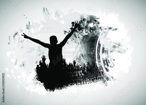 Foto Party background with dancing people - vector illustration