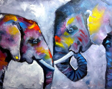 Elephants Painting Drawing With Oil Paints