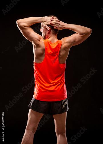 Photo Runner stretches / Läufer dehnt sich I