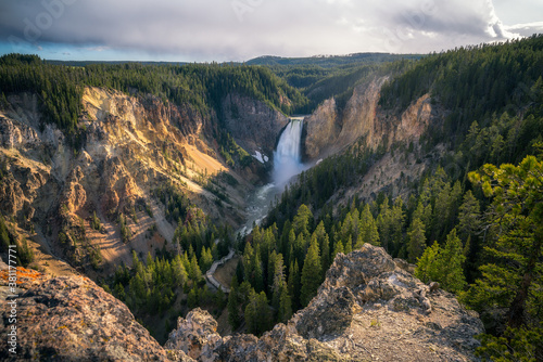 Fotografie, Obraz lower falls of the yellowstone national park at sunset, wyoming, usa
