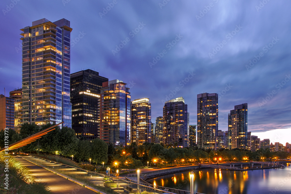 Fototapeta Coal Harbour after sunset (blue hour), Vancouver, British Columbia, Canada