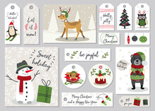 Set Of Modern Hand Drawn Christmas Gretting Cards And Tags With Animals And Other Isolated Elements. Vector Illustration.