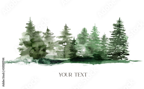 Watercolor winter foggy evergreen forest. Hand painted fir trees illustration isolated on white background. Holiday clip art for design, print, fabric or background. Christmas card.