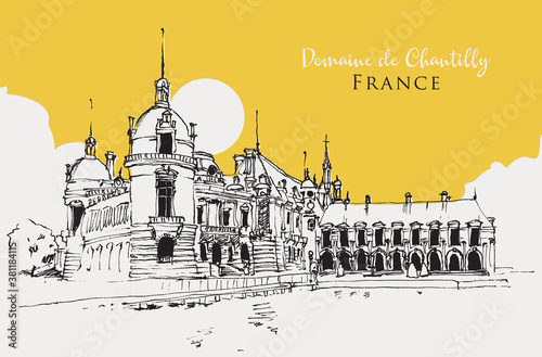 Fotografia Drawing sketch illustration of the Domaine de Chantilly in France