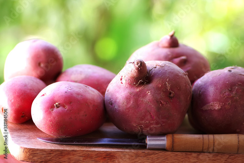 Valokuva potatoes and knife on wooden table, green background