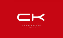 CK Initials Monogram Letter Te...