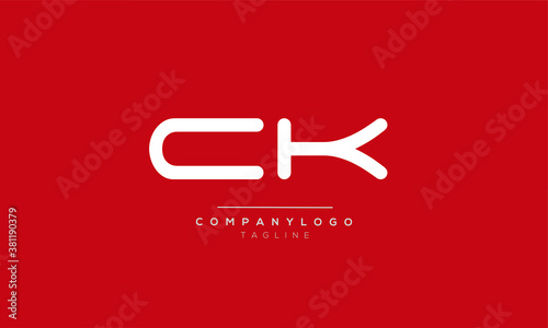 Photo CK initials monogram letter text alphabet logo design