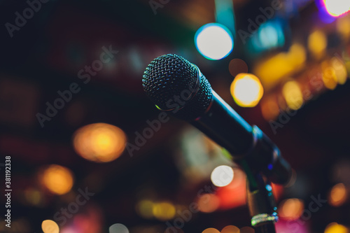 Close up of microphone in concert hall or conference room. Canvas Print