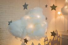 Modern Designer Chandelier. Modern Design And Lighting Design Of The Room. Design Of Light And Space. Chandelier Is Like A Cloud.