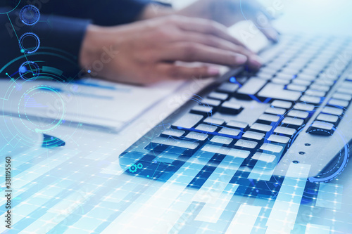 Foto Man hands typing on keyboard, network interface