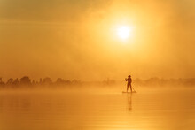 Sportsman Rowing With Paddle Board During Sunrise
