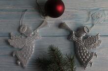 Christmas Toys Lie On A Gray W...