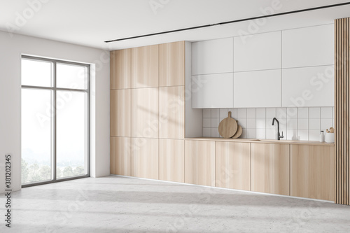 Cuadros en Lienzo Modern white and wooden kitchen corner with cabinets