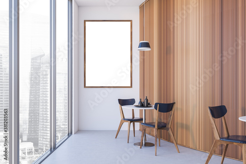Mock up poster in round white and wooden cafe interior