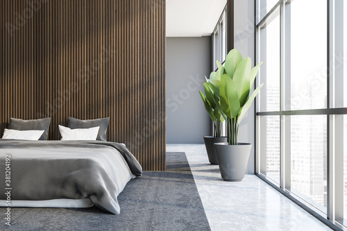 Stylish gray and dark wooden master bedroom interior Slika na platnu