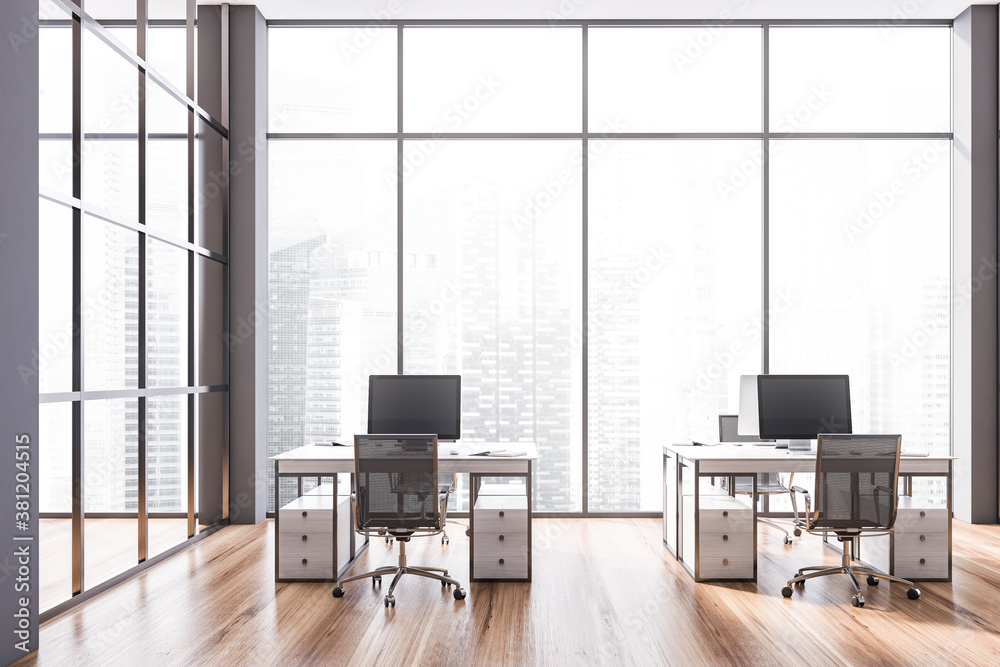 Stylish gray open space office interior