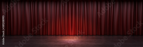 Stampa su Tela Red stage curtain. 3d rendering