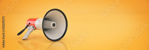 Papel de parede megaphone isolated, attention concept announcement. 3d rendering