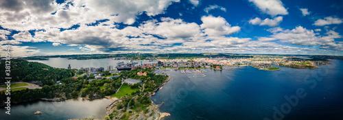 Fotografie, Obraz Drone view of Kristiansand and Kvadraturen from Oderoya, Norway