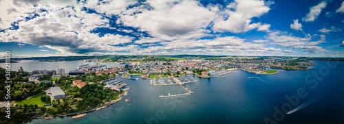 Obraz na plátně Drone view of Kristiansand and Kvadraturen from Oderoya, Norway