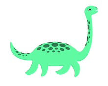 Cute Loch Ness Monster. Plesiosaur Nessie In Cartoon Style. Vector Illustration