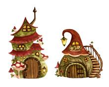 Set Of Gnome Houses. Watercolo...