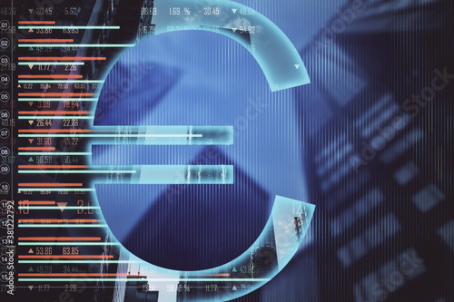 Glowing euro sign with stock chart