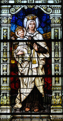 Our Lady of mount carmel stain glass