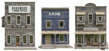 Western Town Booster Pack. Collection Of High Resolution Buildings On An Isolated White Background. Hardware, Trading Post And Bank. 3d Rendering