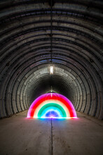 Neon Rainbow In A Tunnel