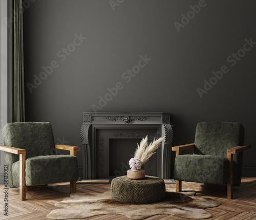 Fototapeta Home interior mock-up with armchairs and fireplace in living room, 3d render obraz