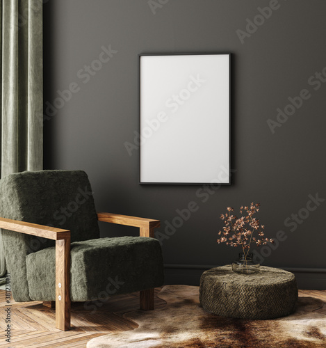 Fototapeta Mock-up frame in dark home interior with armchair and branch in vase, 3d render obraz