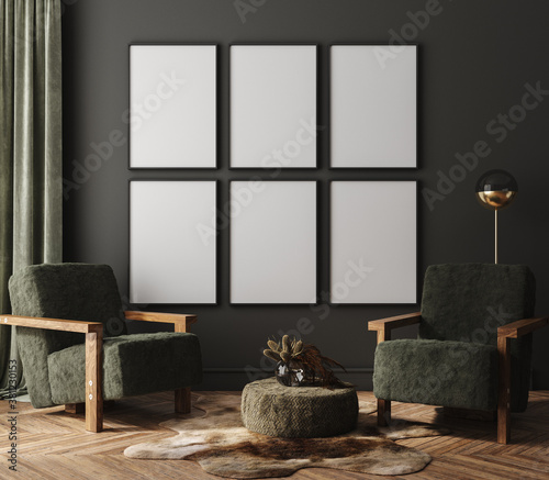Obraz Mock-up frame in dark home interior with armchair and branch in vase, 3d render - fototapety do salonu