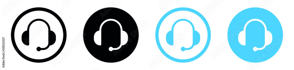 Fototapeta Customer service or customer support headset or headphones flat vector icon for apps and websites