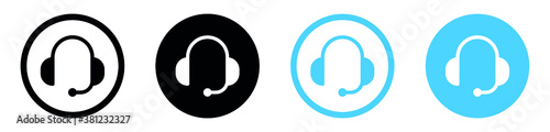 Fotografiet Customer service or customer support headset or headphones flat vector icon for
