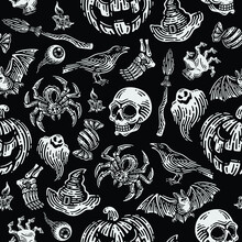Seamless Pattern Of Spider, Skull, Bat, Raven, Eyeball, Leg Bones, Pumpkins, Candle, Ghost, Hand Zombie,  Witch Hat, Witch Broom, Candy Wrappers In Dark Background. Vector Happy Halloween